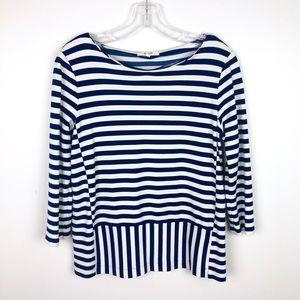 Madewell Cream Navy Striped Blouse